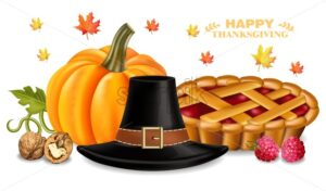 Thanksgiving card with traditional hat Vector realistic. 3d detailed illustrations. pumpkin pie decor - starpik