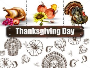 Thanksgiving day banner Vector. Turkey and pumpkins symbol pattern background - starpik