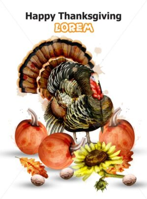 Thanksgiving day card Vector. Turkey and pumpkins symbol isolated on white background - starpik
