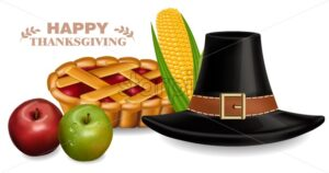 Thanksgiving traditional hat and pie Vector realistic. 3d detailed illustration - starpik