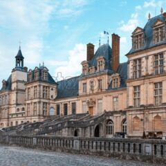 The Palace of Fontainebleau at daylight. View from bottom. France landmarks
