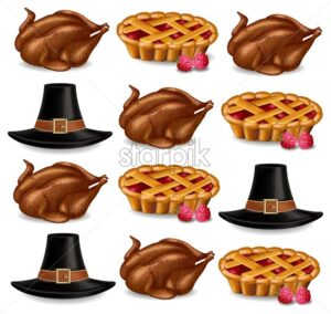 Turkey, pie and a hat Vector realistic pattern. Thanksgiving symbols tradition - starpik