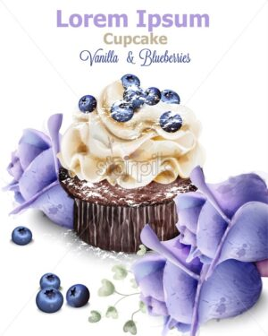Vanilla and blueberry cupcake Vector. Delicious delicate dessert vintage menu template - starpik