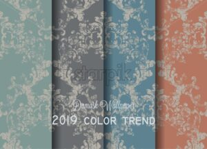 Vintage Baroque Victorian pattern set Vector. Floral ornament decoration. Leaf scroll engraved retro grunge texture design. Pastel dark colors - starpik