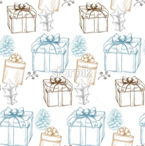 Vintage Merry Christmas card Vector lineart. Christmas gift boxes background decorated - starpik