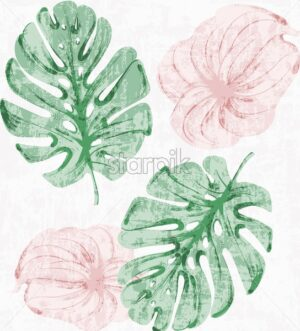Vintage Tropic leaves watercolor Vector. Exotic pattern background. Grunge texture old effect - starpik