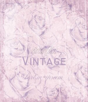 Vintage Victorian card with engraved roses Vector. Floral ornament decoration. Light pink powder color - starpik