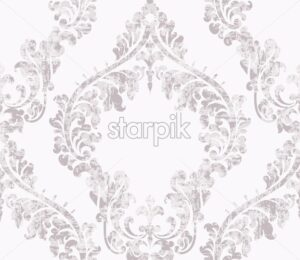 Vintage acanthus decor ornamented pattern Vector. Victorian flourish Royal texture. Flower decorative design. Light pink and white color - starpik