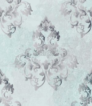 Vintage baroque card background Vector. Luxury ornament background decoration. Old ruined effects. Blue delicate color - starpik