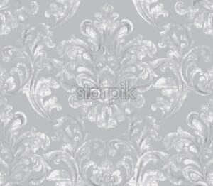 Vintage baroque ornamented background Vector. Royal luxury texture. Elegant decor design in old grunge style. Pastel gray color - starpik