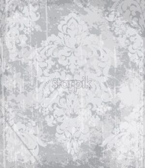 Vintage baroque pattern Vector. Luxury ornament background decoration. Old ruined effects. gray concrete colors - starpik