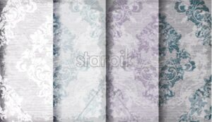 Vintage baroque set patterns Vector. Luxury ornament background decoration. Old ruined effects. pastel color - starpik