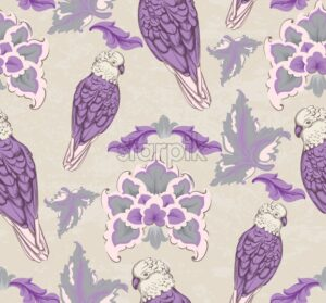 Vintage damask pattern parrot Vector. Old 30s style decoration texture - starpik