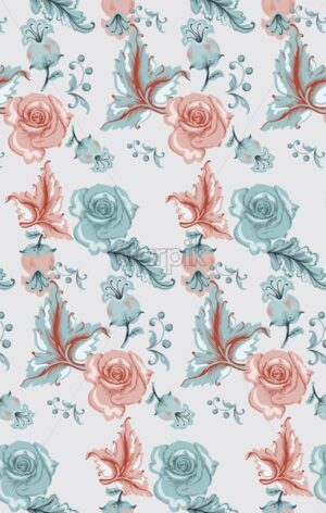 Vintage damask pattern with roses Vector. Old 30s style decoration textures - starpik