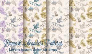 Vintage damask patterns set collection Vector. Old 30s style decoration textures - starpik