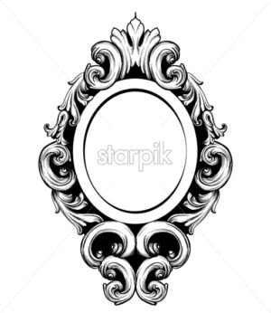 Vintage mirror frame Vector. Baroque rich design elements decor. Royal style ornament - starpik
