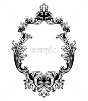 Vintage mirror frame Vector. Baroque rich design elements decor. Royal style ornaments - starpik