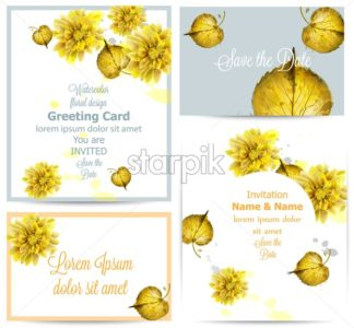 Watercolor autumn golden leaves card set Vector. Vintage greeting cards, invitation, thank you, save the date postcard. Fall season floral decoration frame - starpik