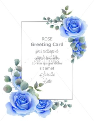 Watercolor blue rose flower card Vector. Vintage greeting, wedding invitation, thank you note. Summer floral decor. flower wreath frames bouquet - starpik