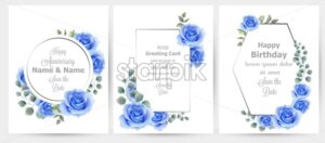 Watercolor blue rose flowers cards set collection Vector. Vintage greeting card, wedding invitation, thank you note. Summer floral decor. flower wreath frames bouquet - starpik