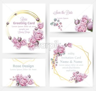 Watercolor rose flowers cards set collection Vector. Vintage greeting or buisiness card, wedding invitation, thank you note. Summer floral decor. flower wreath frames bouquet - starpik