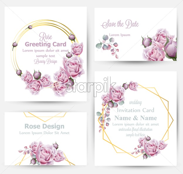 Watercolor Rose Flowers Cards Set Collection Vector Vintage Greeting Or Buisiness Card Wedding Invitation Thank You Note Summer Floral Decor