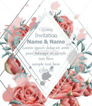 Wedding Invitation card with roses flowers watercolor Vector. Beautiful vintage pink colors floral decor - starpik