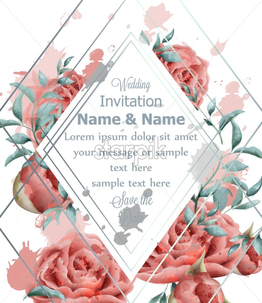 Wedding Invitation card with roses flowers watercolor Vector ...