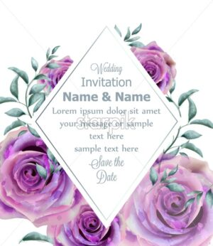 Wedding Invitation rose flowers watercolor frame Vector - starpik