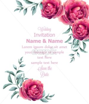 Wedding Invitation rose flowers watercolor frame Vector. Beautiful fuchsia colors floral decor - starpik