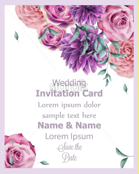 Wedding Invitation Card With Spring Flowers Banner Watercolor Vector Beautiful Vintage Pastel Colors Floral Decor Poster