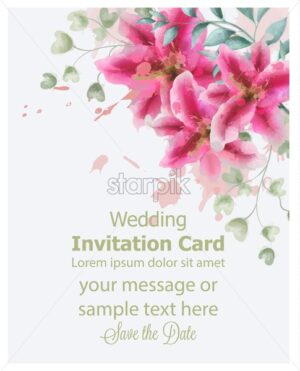 Wedding invitation lily flowers watercolor Vector. Beautiful vintage pink colors floral bouquet decor - starpik