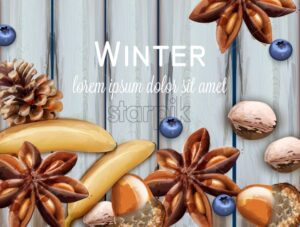 Winter background with bananas, blueberry and anise star Vector watercolor. Wooden texture grunge provence decor - starpik