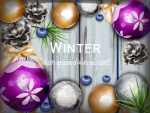 Winter background with cute decorations Vector watercolor illustration. Wooden texture banner. Holiday fever - starpik