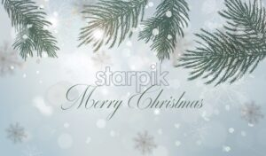 Winter background with fir tree branch decorations Vector watercolor illustration. Holiday card - starpik