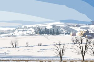 Winter rural landscape Vector. Small village and lot of snow background illustration - starpik