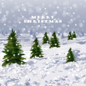 Winter snowing background Vector. Christmas trees and lot of snow. Graphic style illustration - starpik