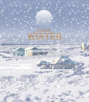 Winter snowing background Vector. Small house and woods. Christmas mood. cartoon style - starpik