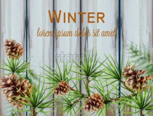 Winter watercolor wreath Vector. Fir branches on wooden texture decorated card - starpik