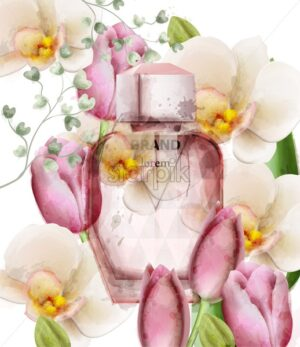 Women perfume bottle floral Vector. Product packaging design. Delicate flowers fragrance watercolor style - starpik
