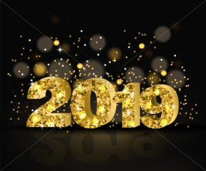 2019 Golden text with glitter Vector. Happy New Year template. Merry Christmas card. Shiny text bokeh background - starpik
