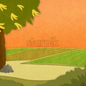 Banana tree with bananas in the meadow at sunset. Cartoon stylish background raster illustration.