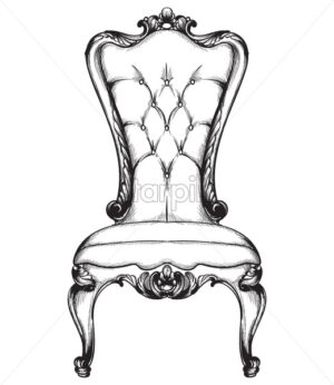 Baroque luxury chair. Royal style decotations. Victorian ornaments engraved. Imperial furniture decor. Vector illustrations line art baroque stylish design - starpik