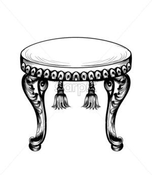 Baroque puff chair furniture Vector. Intricate ornamented frame. Decor design - starpik