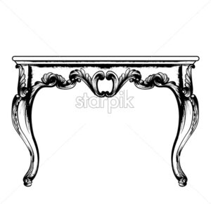 Baroque rich coffee table Vector. Classic royal ornaments decor. Vintage design furniture. Engraved line art style - starpik
