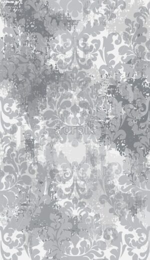 Baroque texture grunge background Vector. Floral ornament pattern decoration with old stains effect. Victorian engraved retro design. Gray color - starpik