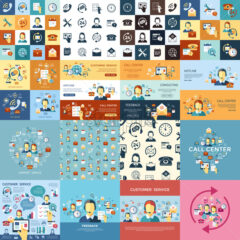 Digital call center and customer support objects color simple flat icon set collection, isolated