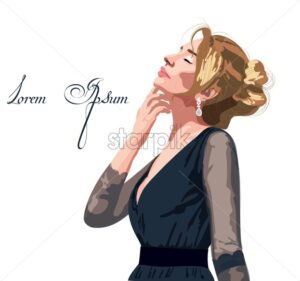 Beautiful woman in a black dress Vector. Passion look. Cartoon style - starpik