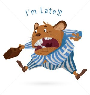 Big Boss mouse late for work Vector cartoon character. Angry worker screeming. Suite dressed. funny illustration - starpik