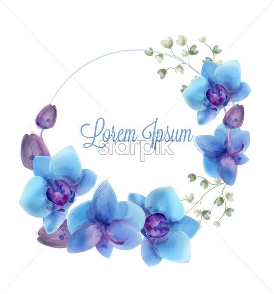 Blue orchids watercolor wreath Vector. Delicate invitation card or greeting. Wedding ceremony decoration frame - starpik